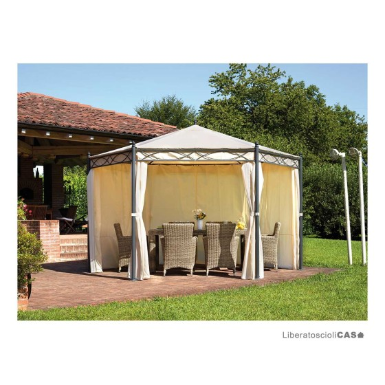 GREENWOOD - Gazebo in ferro esagonale ∅ 4 m