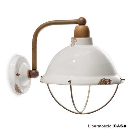 FERROLUCE - INDUSTRIAL LAMPADA DA PARETE IN CERAMICA VINTAGE BIANCO