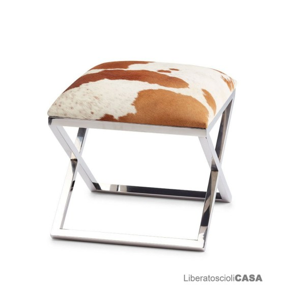 NATURES COLLECTION - STOOL COW HIDE WITH STAINLESS STEEL LEGS