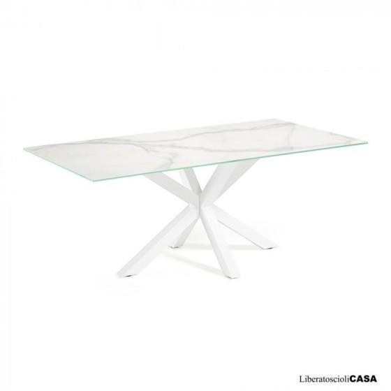 KAVE HOME - Tavolo Argo 160 cm porcellanato gambe bianco