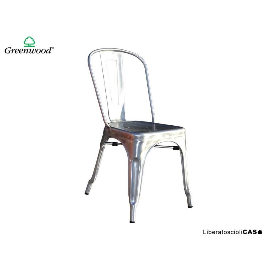 GREENWOOD - Sedia contract in lamiera silver
