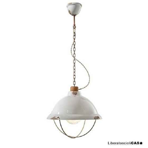 FERROLUCE - INDUSTRIAL LAMPADA A SOSPENSIONE IN CERAMICA VINTAGE BIANCO