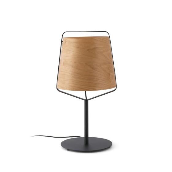 FARO BARCELONA - STOOD Lampada da tavolo nera e legno