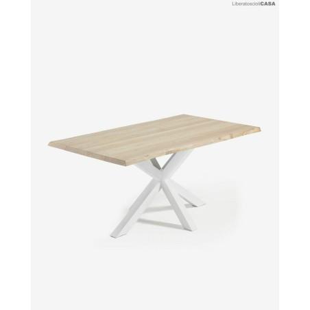 KAVE HOME - Tavolo Argo 160 cm rovere sbiancato gambe bianco 90x160x78cm