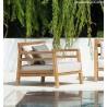 ETHIMO - Poltrona lounge COSTES IN TEAK E TESSUTO Acrilico Nature White