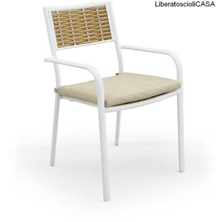 DOMUS STILE - LEONARDO Sedia in alluminio e rattan sintetico + cuscino