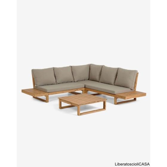 KAVE HOME - Flaviina Divano angolare Flaviina 5 posti in legno di acacia FSC 100%