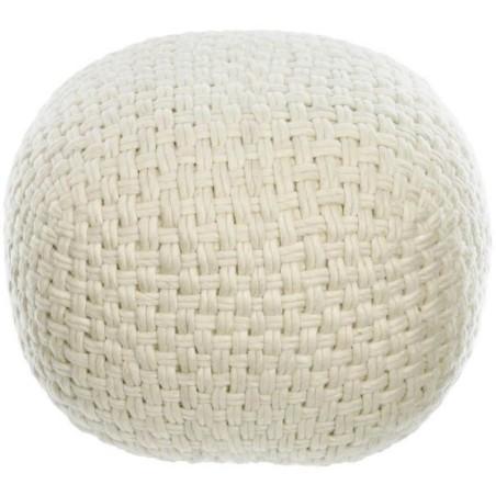 KAVE HOME - Pouf rotondo Betty 100% lana bianca Ø 50 cm